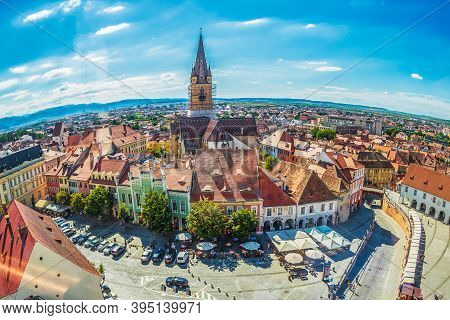 Sibiu,transylvania,romania-july 8,2020:aerial View From The Council Tower Over Little Square,part Of