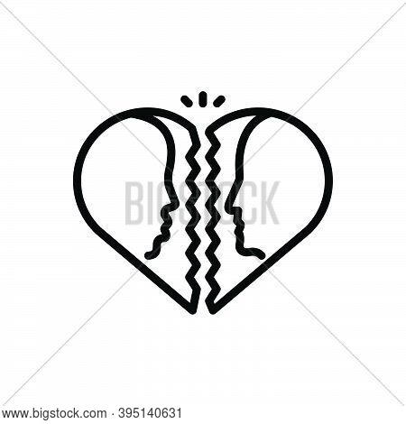 Black Line Icon For Divorce Attorney Family Judge Justice Breakup Separation Divorcement Heart Emoti