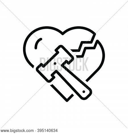 Black Line Icon For Divorce Breakup Separation Hammer Justice Divorcement Heart Annulment Emotional