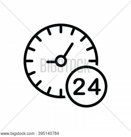 Black Line Icon For Any All Each Several Hour Twenty-four-hours Clock Time Day Service Helpline Sign