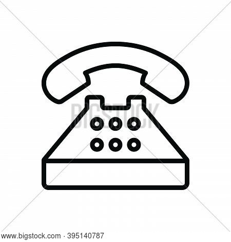 Black Line Icon For Typical Regular Generally Common Usually Phone Telephone Contact Call Communicat