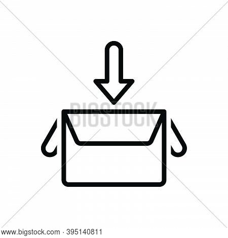 Black Line Icon For Collect Box Gather Save Contribution Amass Assemble Compile