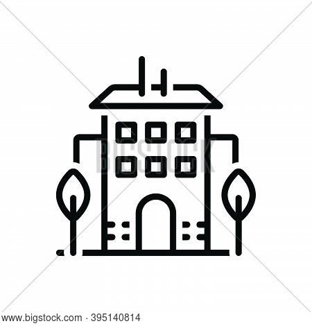 Black Line Icon For Building House Modern Apartment Residence Habitation Architecture Construction