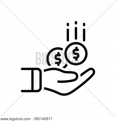 Black Line Icon For Collect Gather Pile Save Contribution Money Income Deposit Exchange