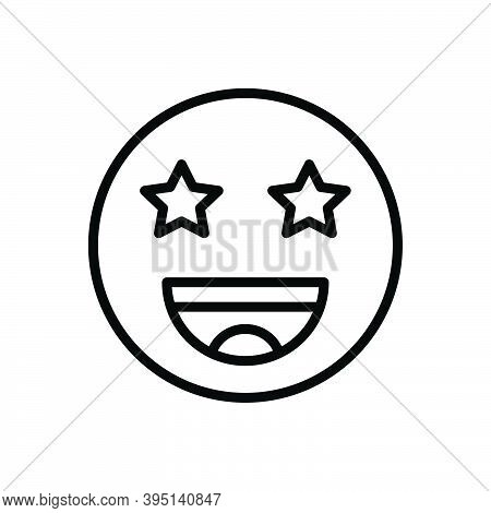 Black Line Icon For Exciting Wow Cheerful Excitement Expression Funny Happy Emoji Provocative Flashy