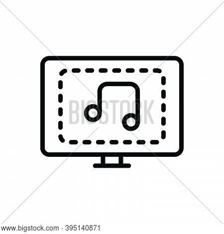 Black Line Icon For Music Song Lyrics Melody Tune Sound Composition Entertainment Bass Tv