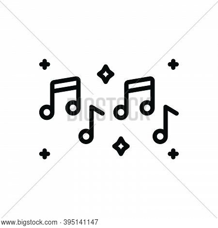 Black Line Icon For Musical Musically Note Entertainment Clef Concert Listening Melody Sound
