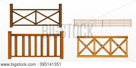 Wooden Fences, Handrail, Balustrade Sections With Rhombus And Grates Patterns Balcony Panels, Stairw