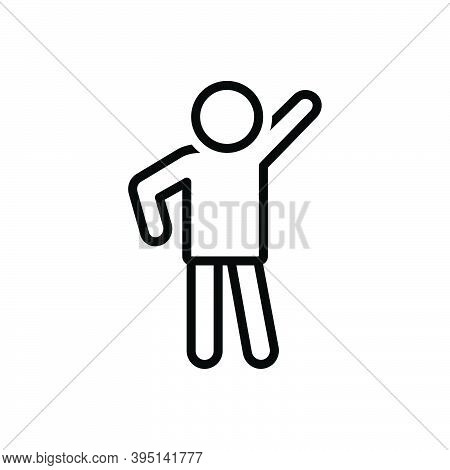 Black Line Icon For Pose Modern Human Person Style Photo-shoot Posture Position Stance Attitude