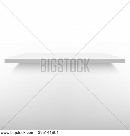 Empty White Shelve Isolated Against A Wall. Vector.