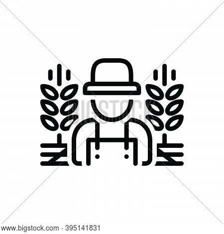 Black Line Icon For Rural Country-man Predial Crops Prolificacy Field Agricultural Farming Agrarian