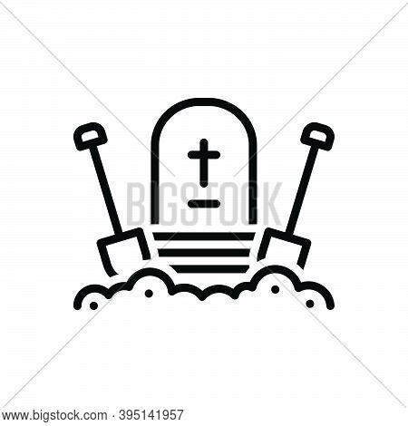 Black Line Icon For Bury Entomb Cemetery Christianity Gravestone Halloween Corpse Dig Shovel Graveya