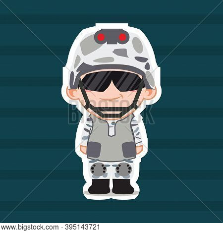 Illustration Vector Graphic Of Cartoon Cute Chibi Marine Corps. Perfect For Children Book Cover, Chi