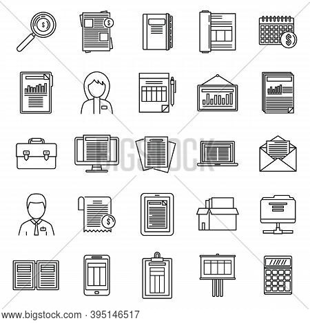Estimator Process Icons Set. Outline Set Of Estimator Process Vector Icons For Web Design Isolated O