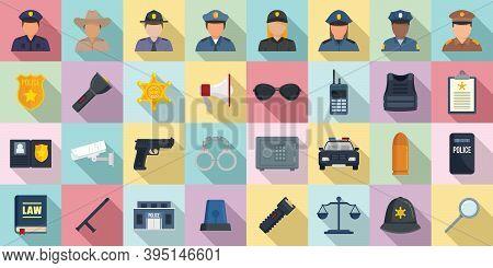 Policeman Icons Set. Flat Set Of Policeman Vector Icons For Web Design