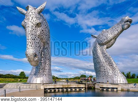 FALKIRK,SCOTLAND - AUGUST 15,2019 : The Kelpies in Scotland, the largest equine sculptures in the world