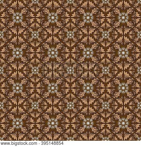 Beautiful Leaf Motifs On Parang Batik With Good Brown Color Design.