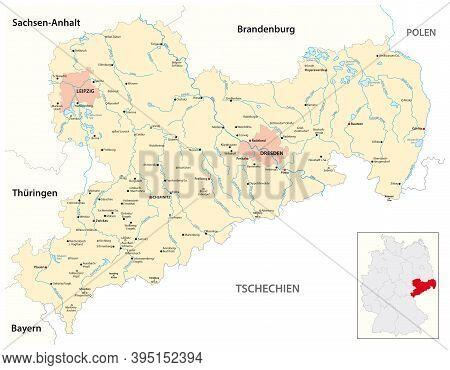 Vector Map Of The Free State Of Saxony, Germany