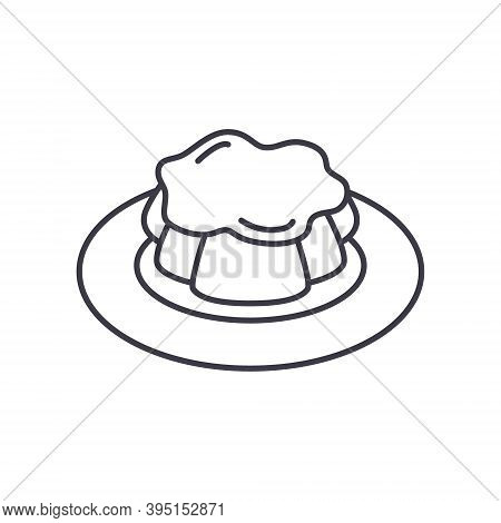 Pudding Icon, Linear Isolated Illustration, Thin Line Vector, Web Design Sign, Outline Concept Symbo