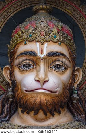 Hanuman Statue, Hindu Idol Near Ganges River, Rishikesh, India. Sacred Places For Pilgrims