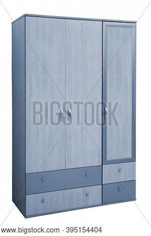 wooden wardrobe on a white background