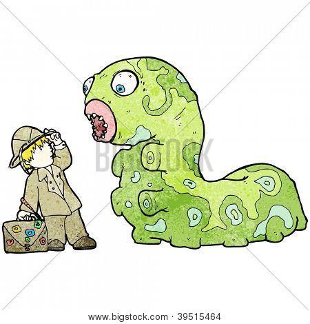 cartoon explorer boy and giant caterpillar poster