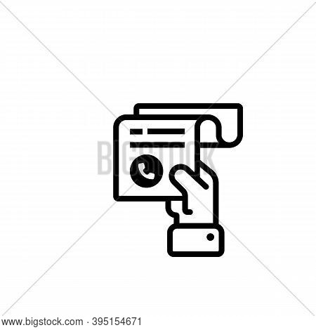 Hand Holding A Receipt Bill. Phone Bill Receipt Line Icon. Invoice Icon. Cashier Receipt Icon. Pay B