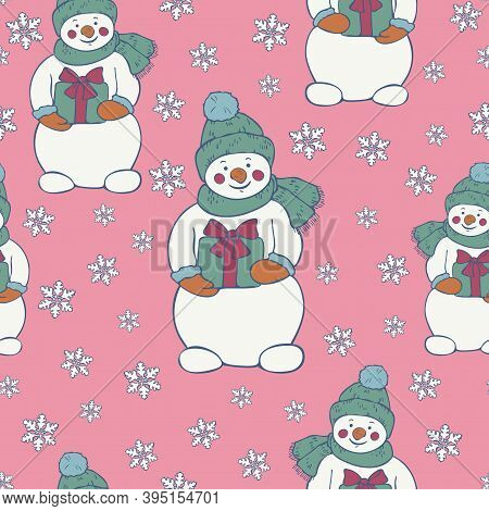 Vector Seamless Pattern Of Snowmen And Snowflakes On A Light Pink Background. New Year Christmas Des