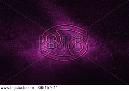 Cancer Zodiac Sign, Night Sky,horoscope Astrology Background,cancer Horoscope Symbol, Violet Horos