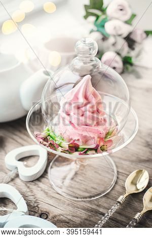 Fresh Handmade Marshmallows In A Light Mood. Close-up Of A Pink Marshmallow In A Transparent Glass V