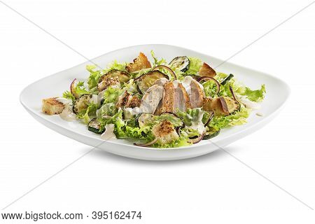 Healthy Chicken Meal With Grilled Chicken, Vegetables And Croutons Isolated On White Background. Hea