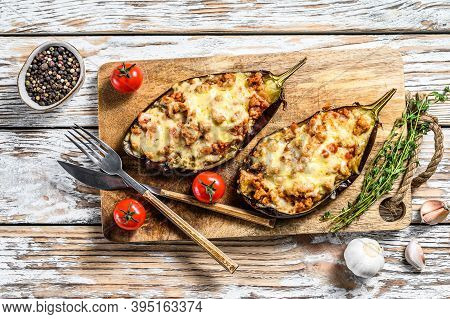 Baked Eggplant With Minced Beef Meat And Cheese. White Background. Top View
