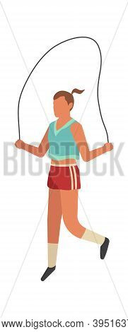 Sportswoman Jumping Rope. Outdoor Activity, Female Strong Character In Sport Uniform Doing Exercises
