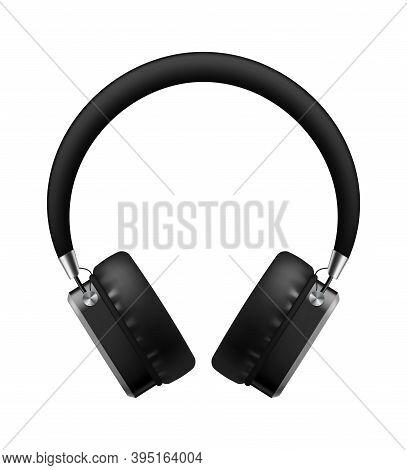 Music Earphones. Realistic Black Stereo Audio Headphone, Electronic Personal Big Portable Sound Earb