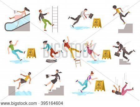 Falling People. People Of Different Ages Stumblng And Jumping Down Stairs Or Ladder, Slipping Wet Fl