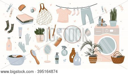 Bath Accessories For Body Care, Bath Personal Care Spa Elements Set Isolated On White Illustrations.