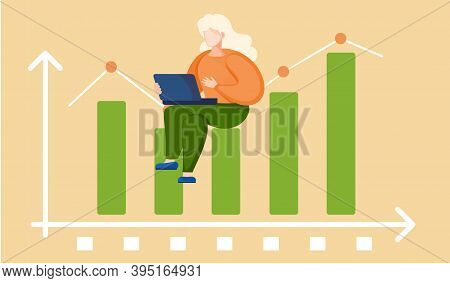 Woman Preparing To Submit A Progress Report. Character Sitting On Diagram Consisting Of Rectangular