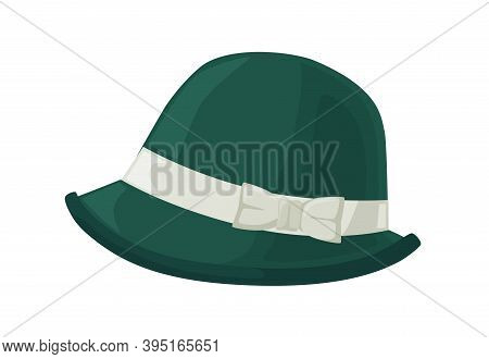 Retro Green Women Hat In 30s Or 20s Style. Woolen Female Vintage Headwear Decorated With Ribbon And