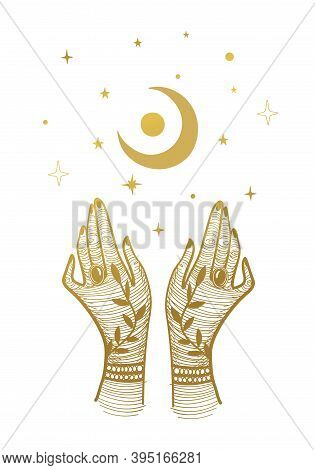 Women S Hands With Tattoos And A Crescent Moon. Magic Illustration, Boho Design, Tattoo, Engraving,
