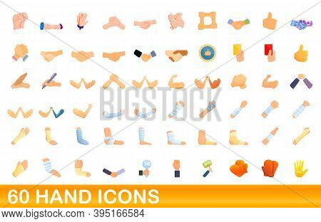 60 Hand Icons Set. Cartoon Illustration Of 60 Hand Icons Vector Set Isolated On White Background