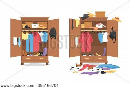 Messy Clothes In Wardrobe. Garments Before, After Organization In Wooden Closet, Organized And Throw