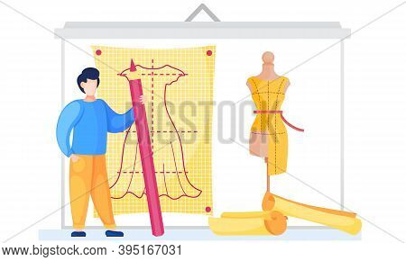 Man Drawing The Plan For Sewing Clothes. Male Professional Writes The Length Of A Dress. Future Clot