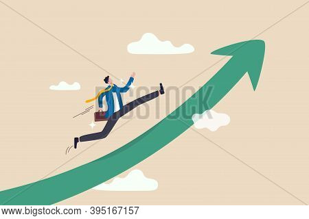 Improvement In Work, Career Path To Grow, Achievement And Success In Job Or Leadership To Win Busine