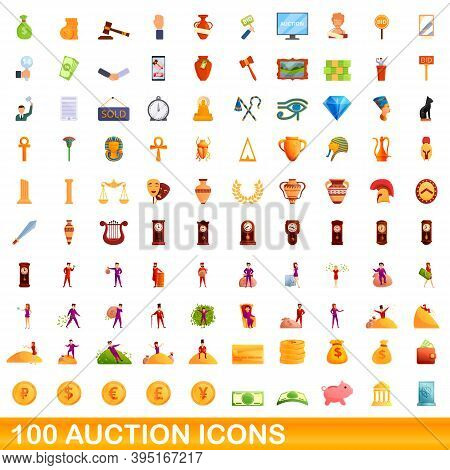100 Auction Icons Set. Cartoon Illustration Of 100 Auction Icons Vector Set Isolated On White Backgr