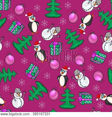 Merry Christmas And New Year Seamless Pattern. Winter Background With Cute Snowman, Penguin, Gift Bo