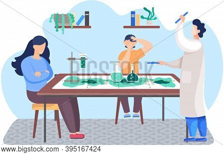 Boy Plays A Board Game About Chemistry. Experiments With Reagents At Home. Child Sits And Rejoice. G