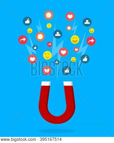 Magnet Lead Of Social Media. Social Page With Like, Follower, Heart. Acquire Of Influence With Help