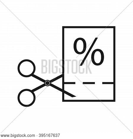 Thin Line Black Scissors Cuts Discounts Coupon. Concept Of Sell Off In Online Supermarket At Low Pri