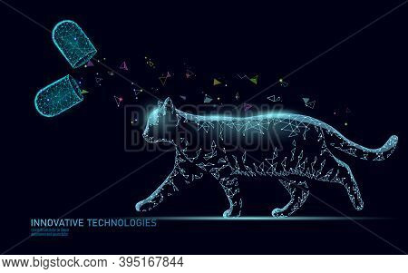 Cat Silhouette Veterinary Pharmacy Banner Template. Analysis Microscope Virus Infection. Vet Care Me