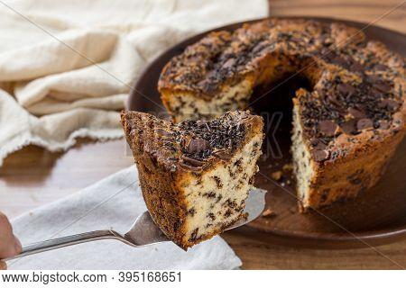 Traditional Brazilian Cake Called Bolo Formigueiro. Brazilian Chocolate Cake. Homemade Cake